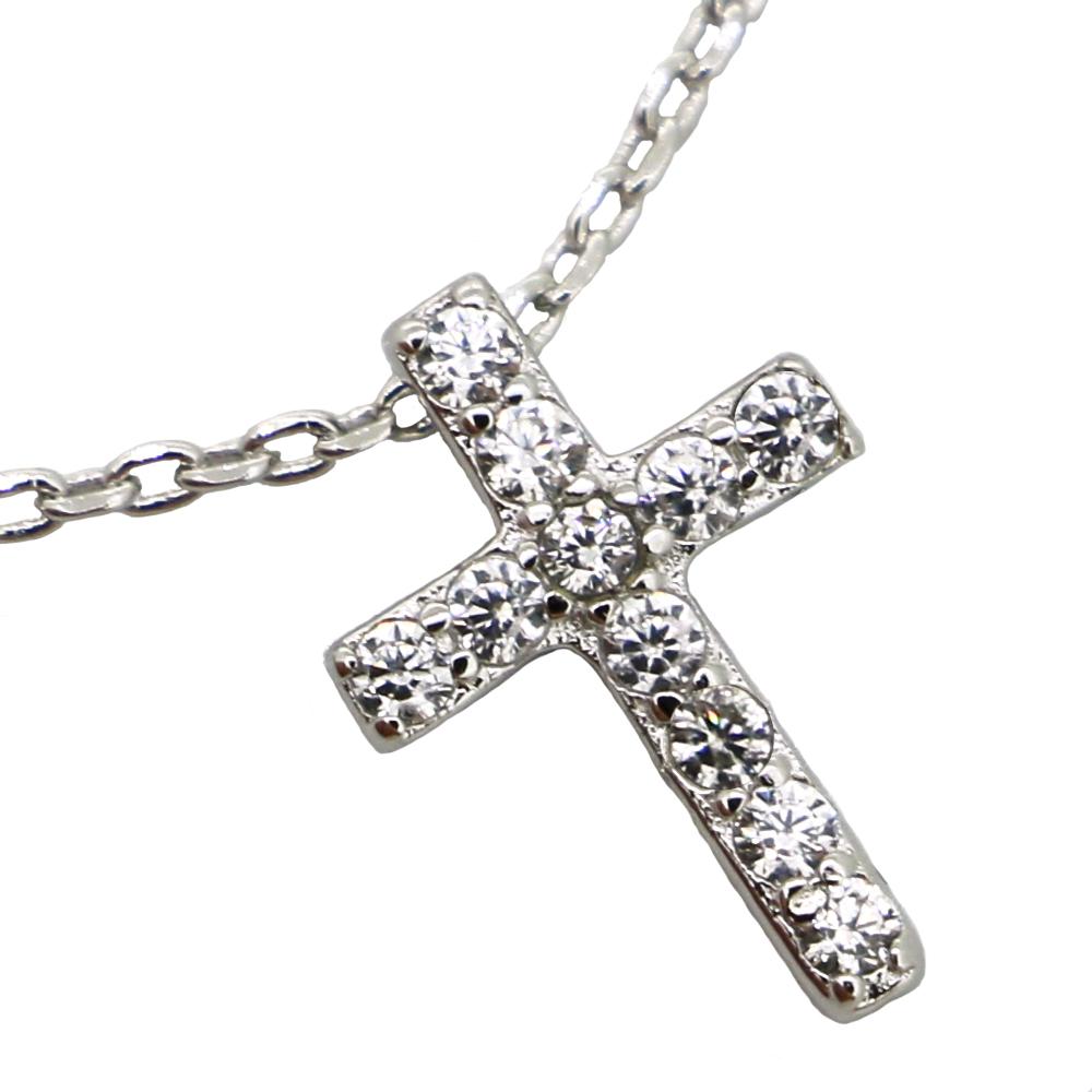 贅沢11粒 0.11カラット 十字架 クロス ネックレス