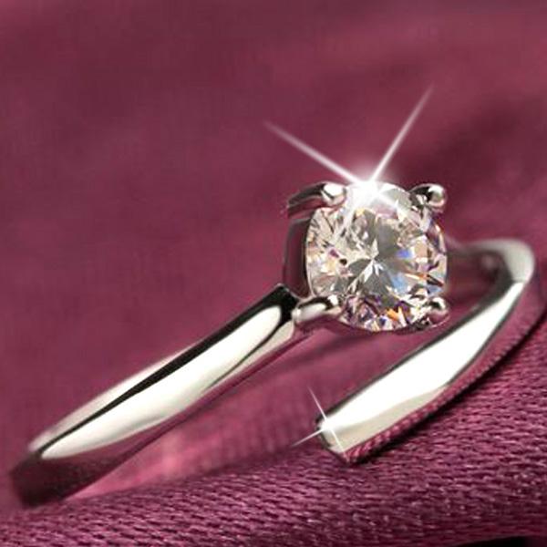 指輪 サイズフリー/一粒 リング/指輪/レディース/プラチナ仕上げ/シルバー925