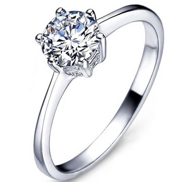 指輪 レディース/豪華 大粒 一粒 リング/指輪/レディース/プラチナ仕上げ/シルバー925 ギフト