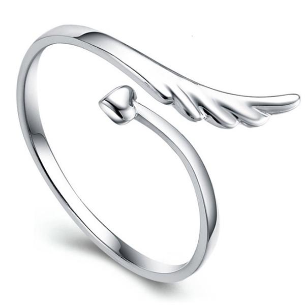 サイズフリー/天使の羽根 ハート矢 指輪/レディース/シルバー925 プラチナ仕上げ/C型リング ギフト